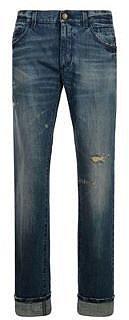 Dolce And Gabbana DOLCE AND GABBANA 16 Rise Blue Stitch Distressed Stonewash Jean