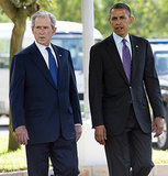 President Obama and former President George W. Bush walked together while they were both in Tanzania in July.