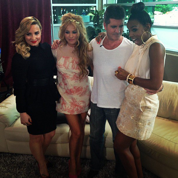 Demi Lovato posed with her fellow X Factor judges — Paulina Rubio, Simon Cowell, and Kelly Rowland — as Kelly got a little touchy-feely with Simon. Source: Instagram user thexfactorusa