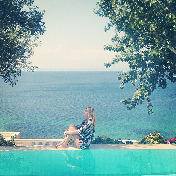 Nicky Hilton relaxed poolside in Greece. Source: Instagram user nickyhilton
