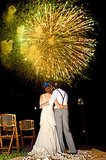 Bright yellow fireworks exploded at this wedding in Sayulita, Mexico. Photo by Michelle Turner via Style Me Pretty