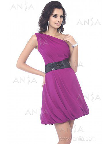 A Line Grape One Shoulder Chiffon Party Dress E22416
