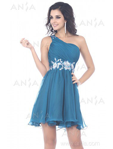A Line Blue One Shoulder Tulle Party Dress E22422