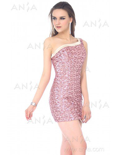 Sheath Column Lilac One Shoulder Sequin Cocktail Dress E22424