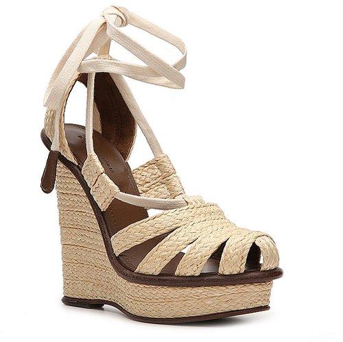 Bottega Veneta Straw Wedge Sandal