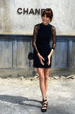 Alexa Chung was all smiles at the Chanel show on Tuesday.