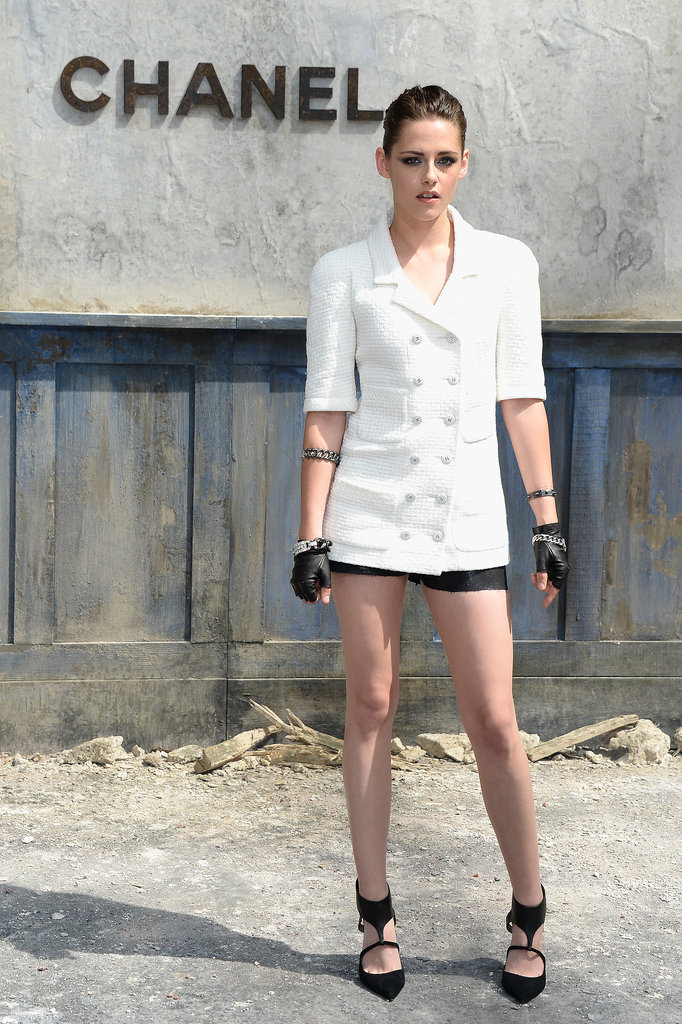 Kristen Stewart wore a leggy look to the Chanel show on Tuesday.