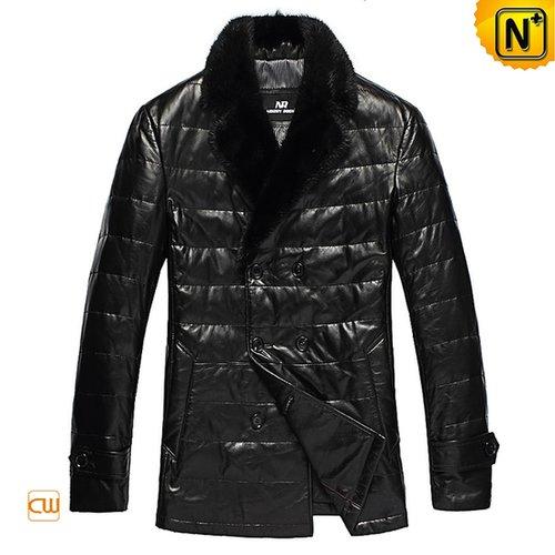 Black Leather Down Winter Jacket CW832100 - cwmalls.com