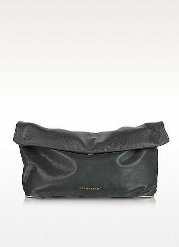 See by Chloé Black Roll Over Leather Clutch w/Shoulder Strap