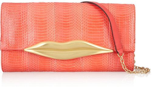 Diane von Furstenberg Carolina Lips snake and leather clutch