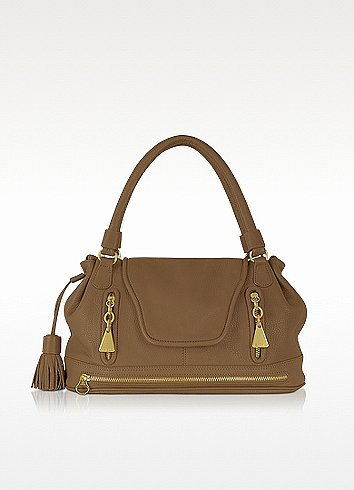 See by Chloé Brown Textured-Leather Shoulder Bag