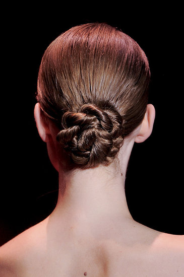 Elie Saab went for an elegant twisted chignon that works both on the runway and for a wedding.