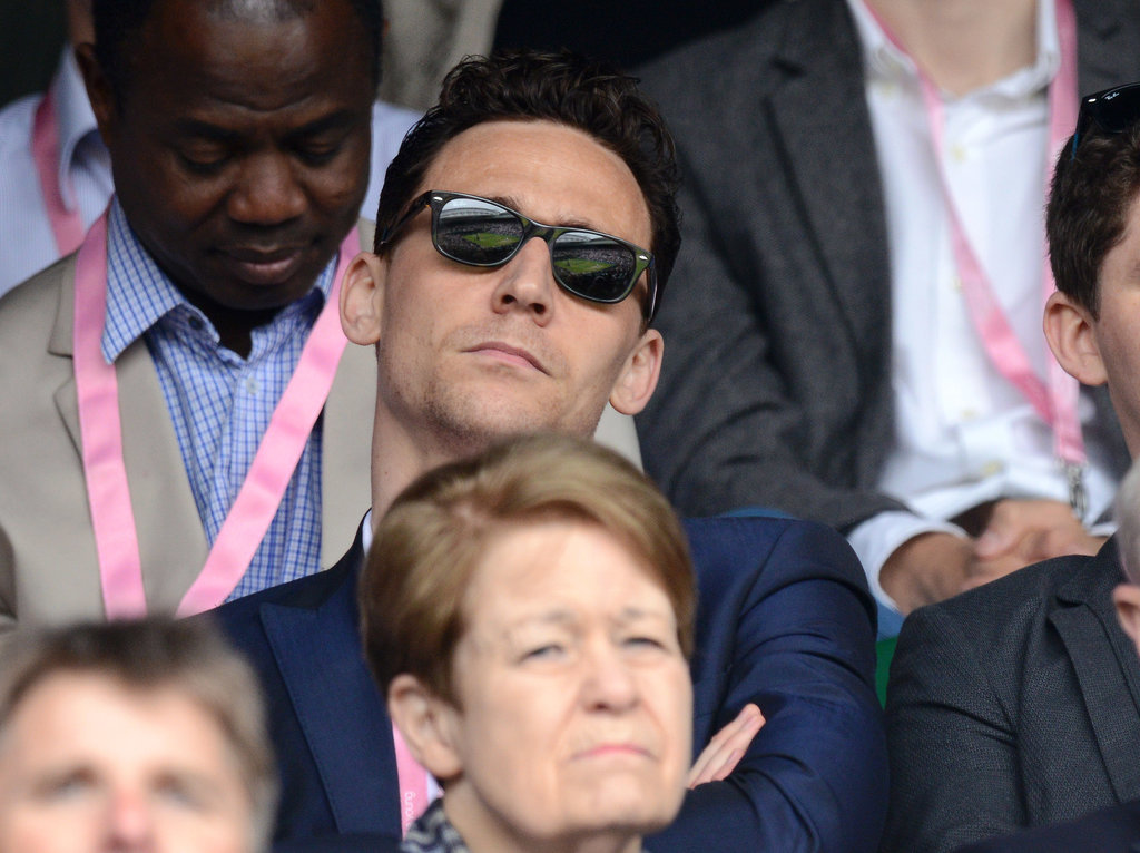 Tom Hiddleston wore shades while checking out a match on Wednesday.