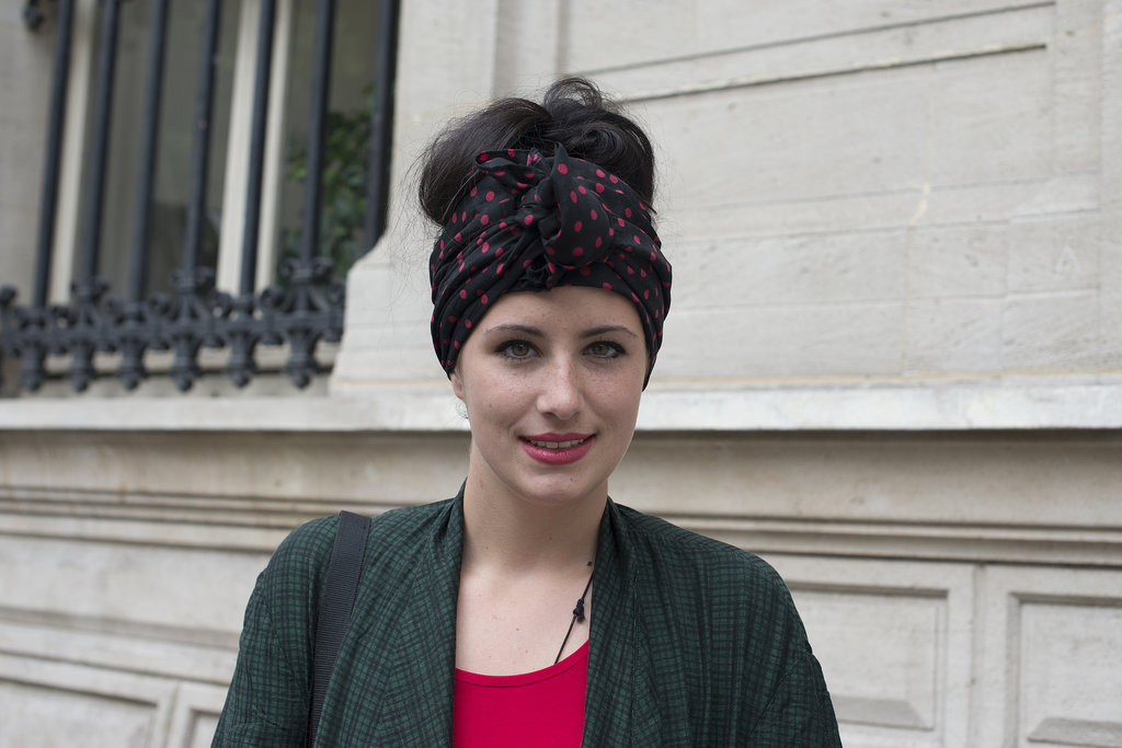Tie together your updo with an extralong scarf, and flyaways will be a worry of the past.