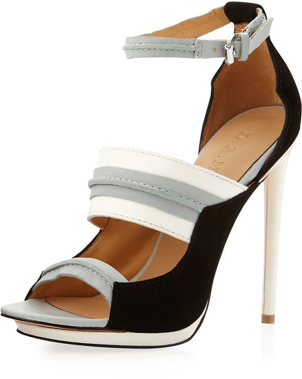 L.A.M.B. Jane Ankle-Strap Pump, Gray/White/Black