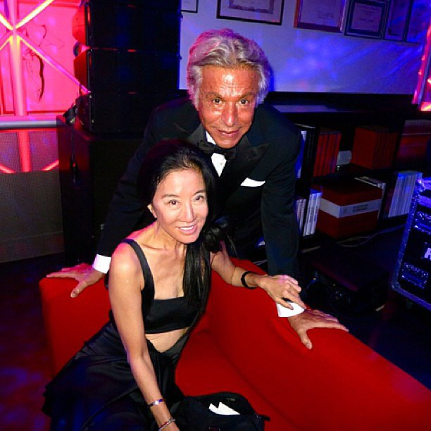 Vera Wang posed with Giancarlo Giammetti at the Valentino dinner during Haute Couture Fashion Week in Paris. Source: Instagram user verawanggang