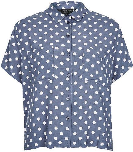 Casual Crop Polka Dot Shirt