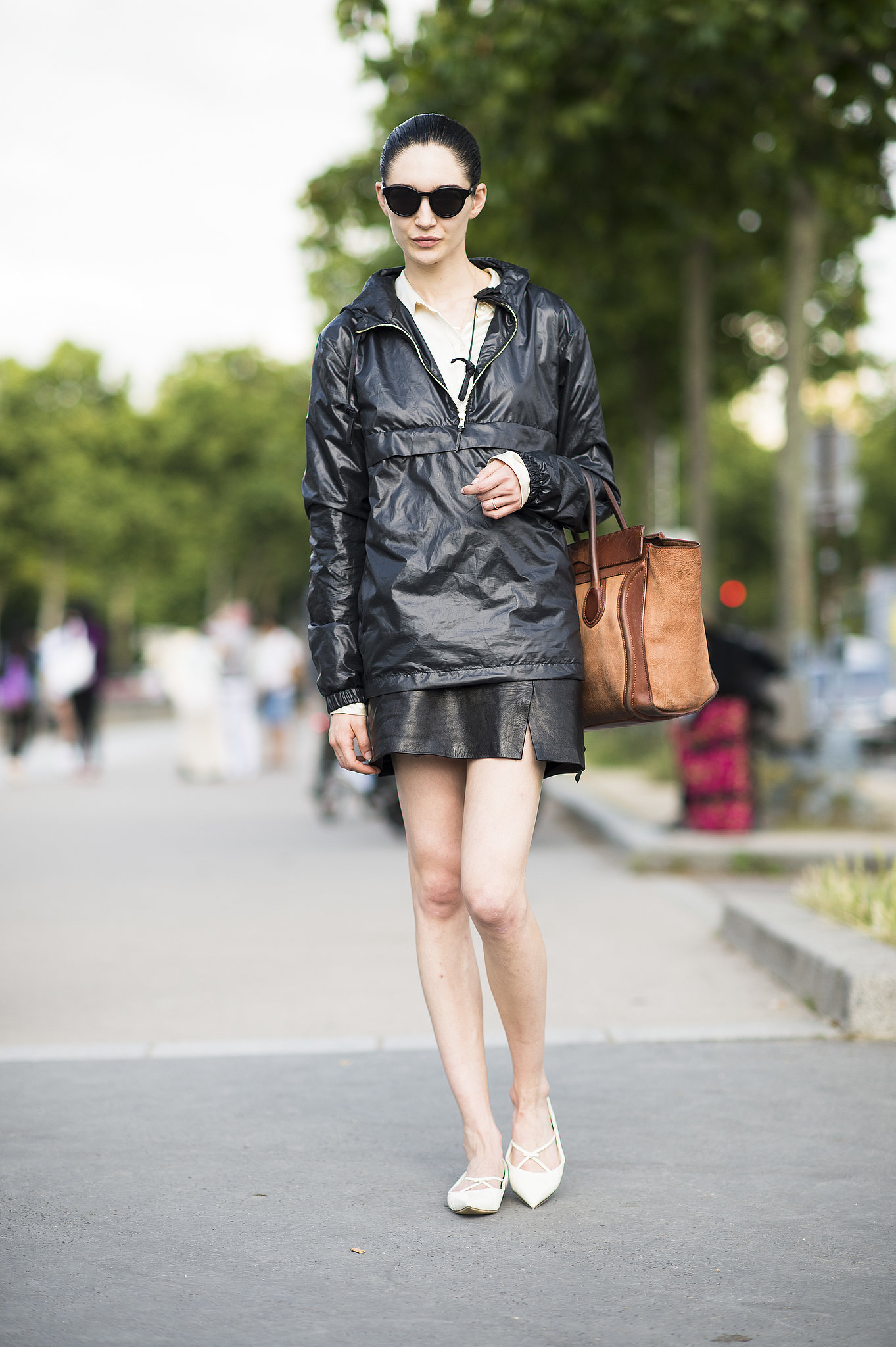 Making even a parka look chic with cool leather separates. Source: Le 21ème | Adam Katz Sinding