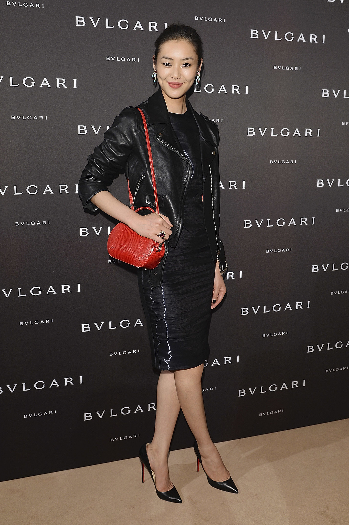 Liu Wen added a pop of red to help unveil Bulgari's latest collection of fine jewelry.