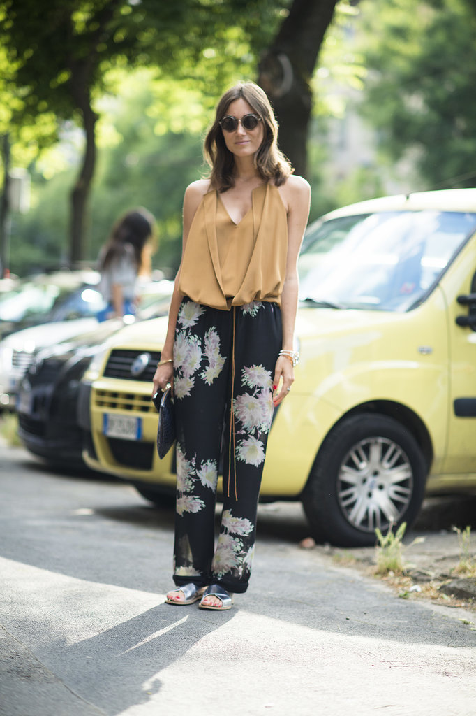 There's nothing about her floaty top and printed pants that doesn't feel seasonal. We want the look, head to toe! Source: Le 21ème | Adam Katz Sinding