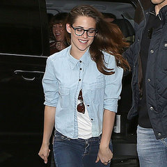 Kristen Stewart Wearing Double Denim Outside Paris Hotel