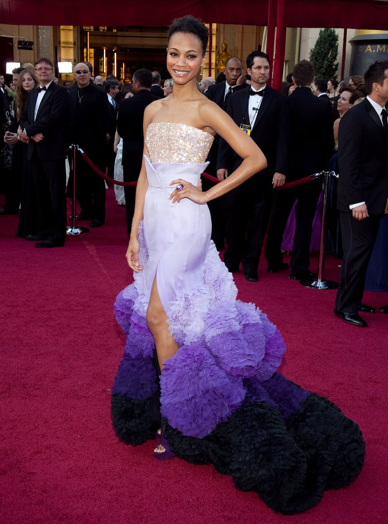 Zoe Saldana wore a very different purple dress — albeit one by the same designer, Givenchy couturier Riccardo Tisci — at the 2010 Academy Awards.