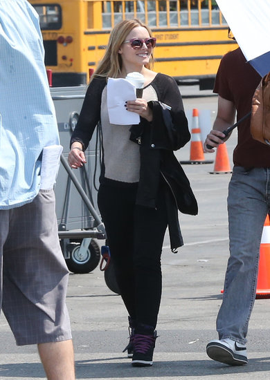 Kristen Bell smiled on the set of the Veronica Mars movie in Santa Monica, CA, on Wednesday.