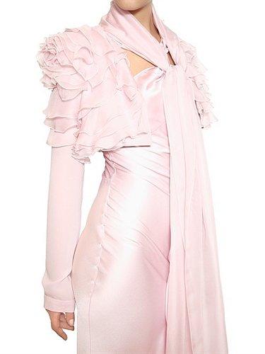 Ruffled Silk Georgette Bolero Jacket