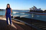 In a lapis blue Alberta Ferretti pant-and-top combo, Sandra sauntered effortlessly into Sydney Harbour looking more chic and confident than ever. The L.A.M.B cage booties are favourites of hers, she's been seen in them a few times already on her press tour.