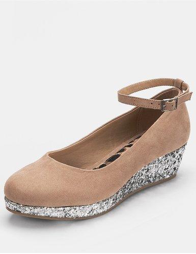 Freespirit Kivu Girls Wedge Shoes - Nude/Silver