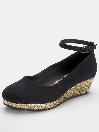 Freespirit Kivu Girls Wedge Shoes - Black/Gold