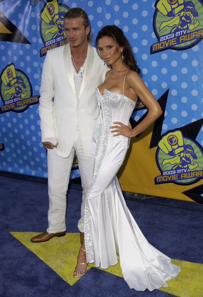 David and Victoria matched in white at the 2003 MTV Movie Awards in LA.