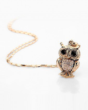 Gold Owl Pendent with Peach Rhinestone