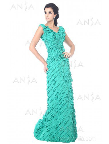 Sheath Column Green V Neck Chiffon Prom Dress F12051