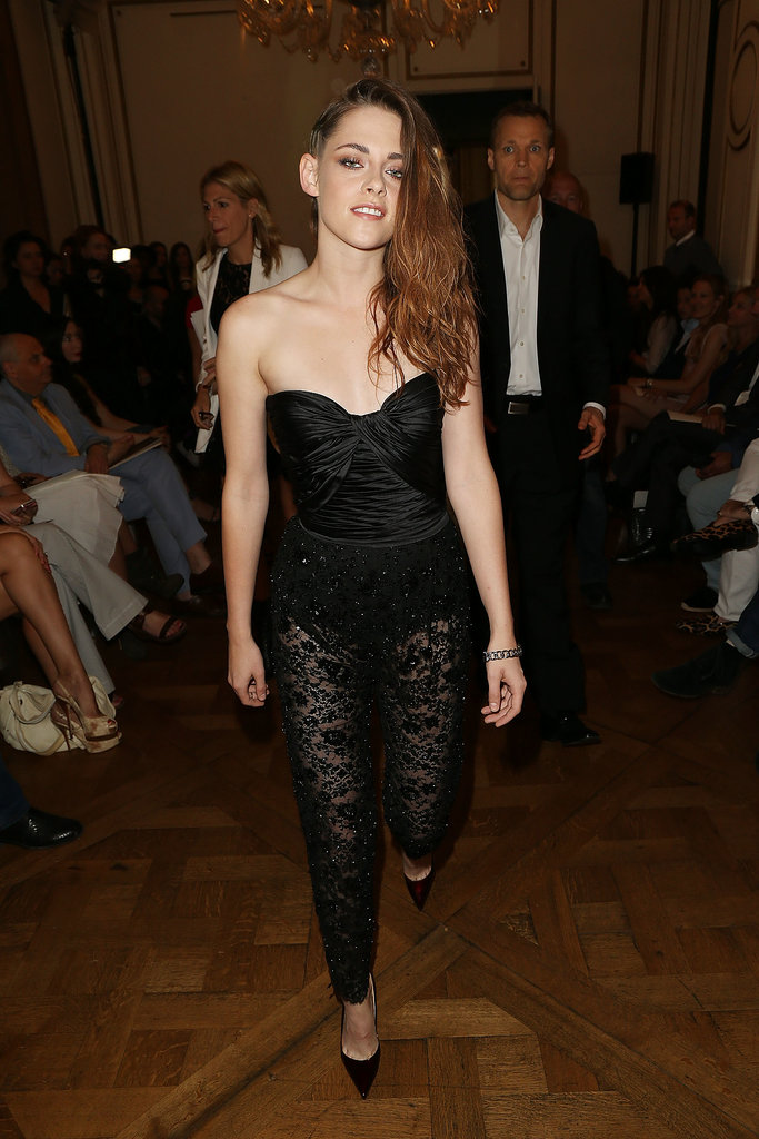 Kristen Stewart hung out at the Zuhair Murad fashion show in Paris on Thursday.