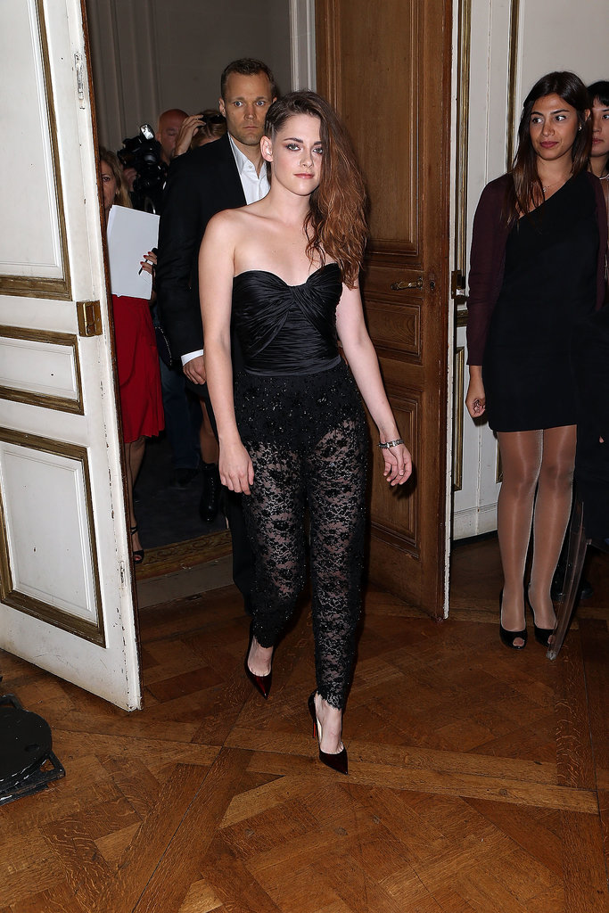 Kristen Stewart wore sheer pants at the Zuhair Murad Paris Haute Couture show.