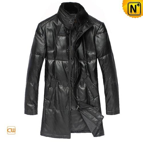 Long Black Leather Down Coat CW832126 - cwmalls.com