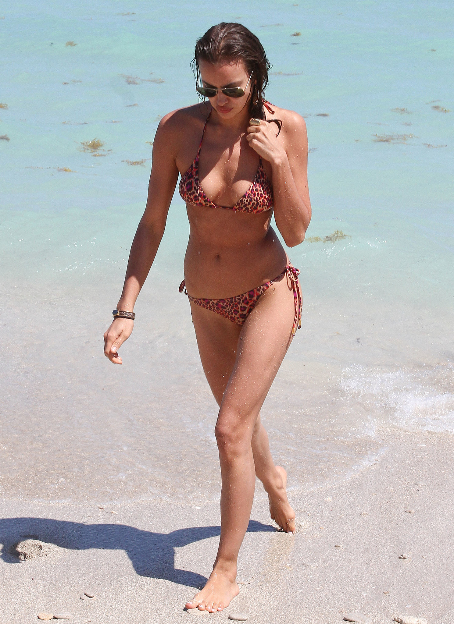 Irina Shayk played in the water during a trip to Miami in March 2012.
