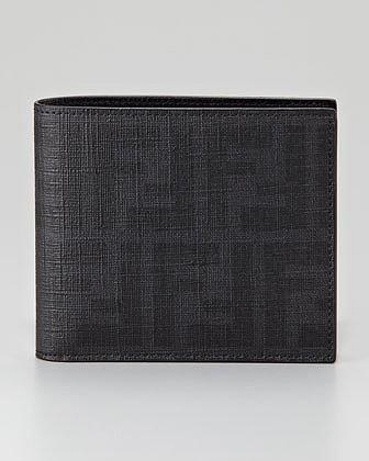 Fendi Zucca Coated Canvas Bi-Fold Wallet, Black