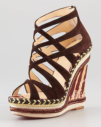 Christian Louboutin Tosca Crisscross Wedge Sandal, Chocolate