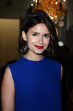 At Valentino, Miroslava Duma let her brick red lipstick and bold brows define her beauty look.