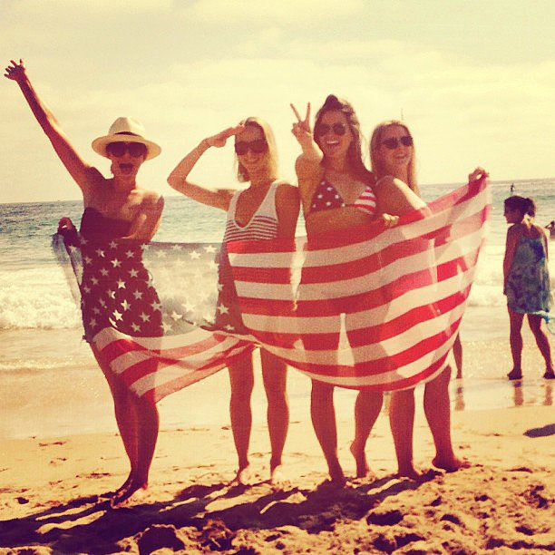 Lauren Conrad got patriotic on the beach with friends. Source: Instagram user laurenconrad