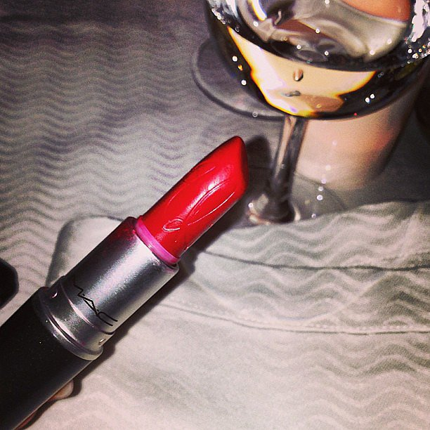 Rihanna showed us that she really does use her MAC RiRi Woo lipstick. Source: Instagram user badgalriri