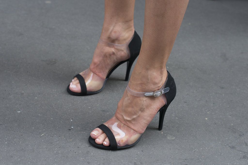 A bit of PVC transforms a basic ankle-strap heel.
