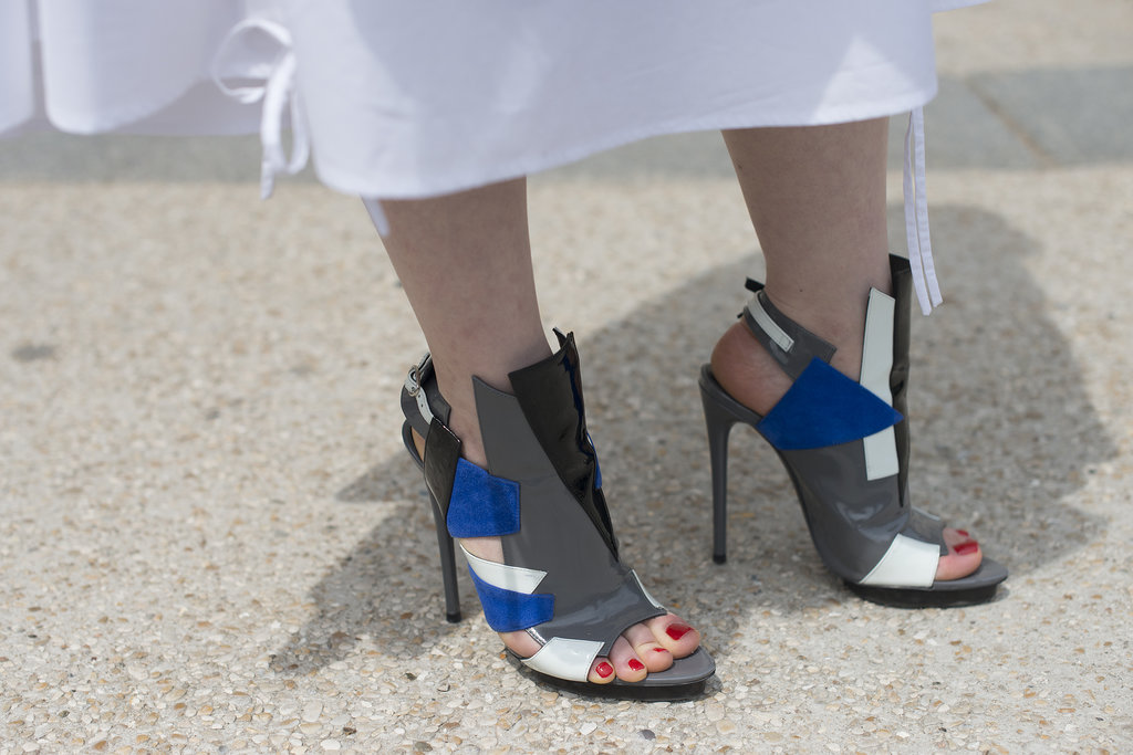 Bold colours and a quirky shape for these Balenciaga sandals.
