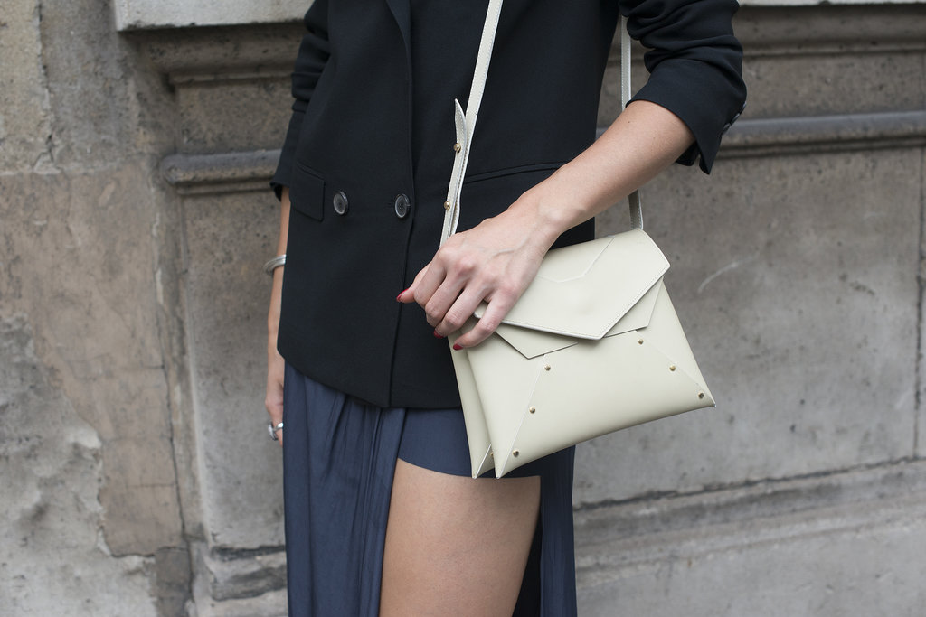 We have accessory envy over this sleek shoulder bag.