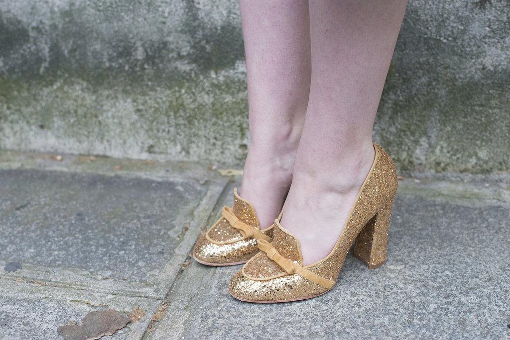 A pair of glittery loafers walk the line between ladylike and menswear-inspired.