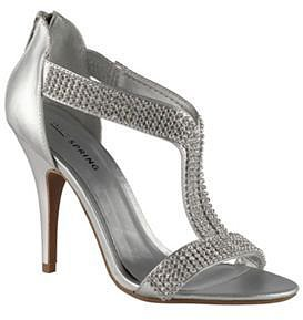 Silver faux leather high heel open toe t-bar heswall shoes with diamantee
