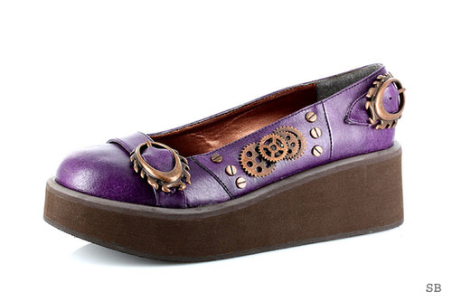 """Hades Shoes H-Kytty Hawk, 1.25"""" to 2"""" Wedge Platform Steampunk loafer-Satin-Boutique.com"""