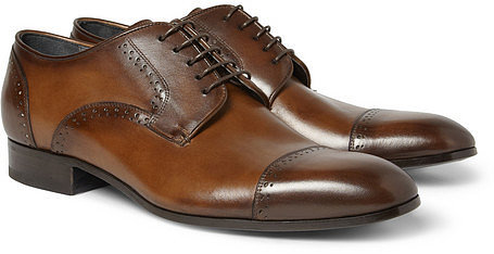 Lanvin Burnished-Leather Brogues